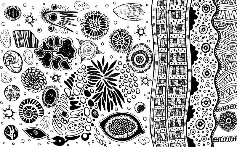 Bosquejo abstracto de la tinta psicodélica del extracto Dibujo lineal extra?o surrealista para el dise?o, p?gina que colorea para ilustración del vector