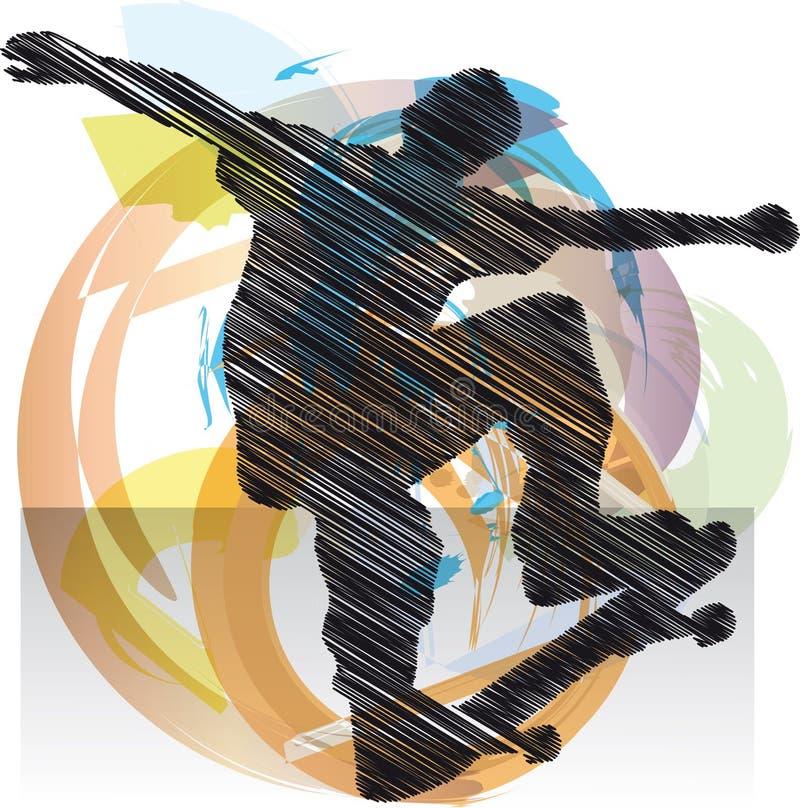 Bosquejo abstracto del patinador stock de ilustración