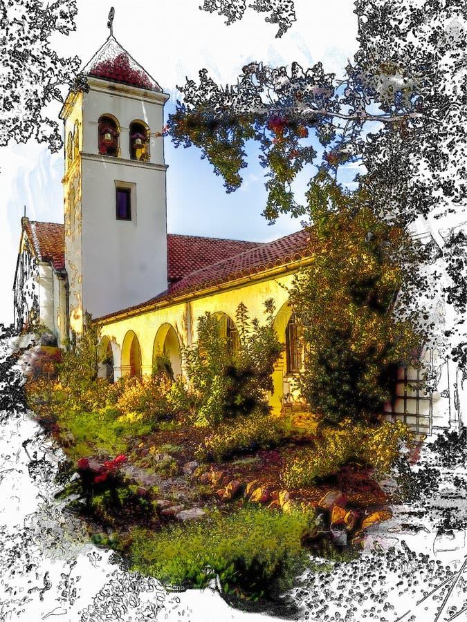 Bosquejo, acuarela, iglesia del estilo de la misión de California con el tejado de teja del campanario, del arco y de la arcilla fotografía de archivo