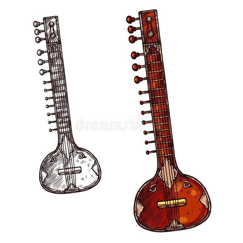 Bosquejo aislado indio del instrumento musical del Sitar libre illustration