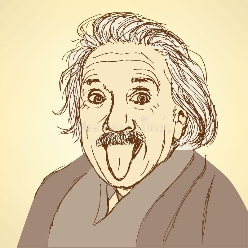 Bosquejo Albert Einstein en estilo del vintage stock de ilustración