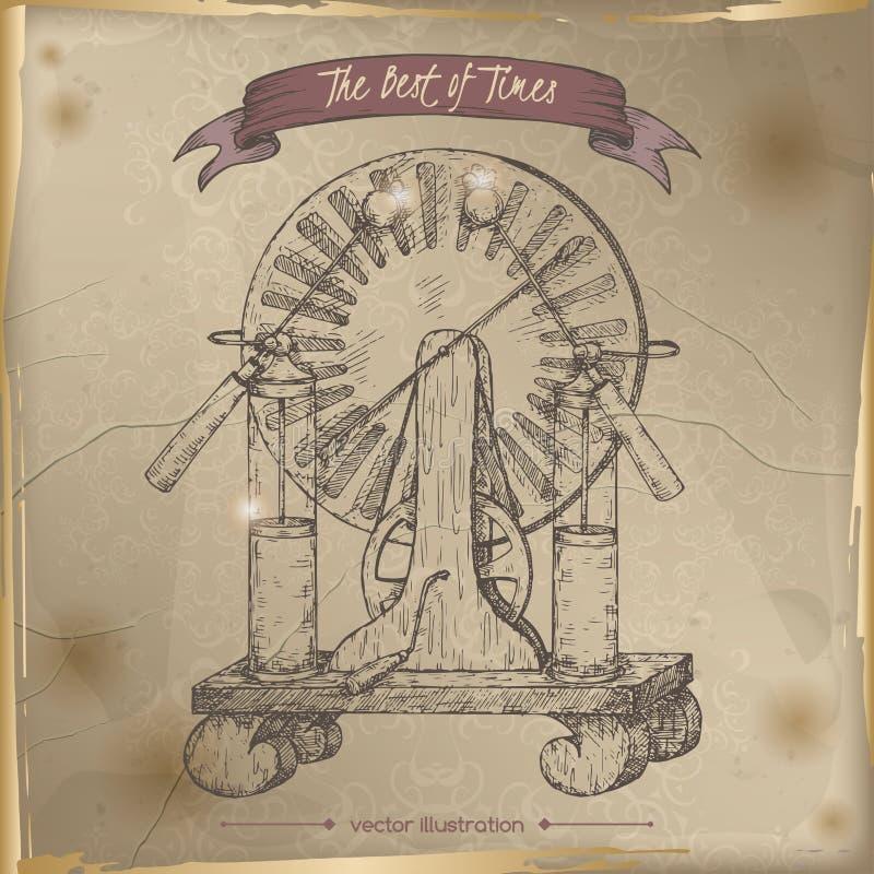 Bosquejo antiguo del modelo del generador de la electricidad puesto en viejo fondo de papel ilustración del vector
