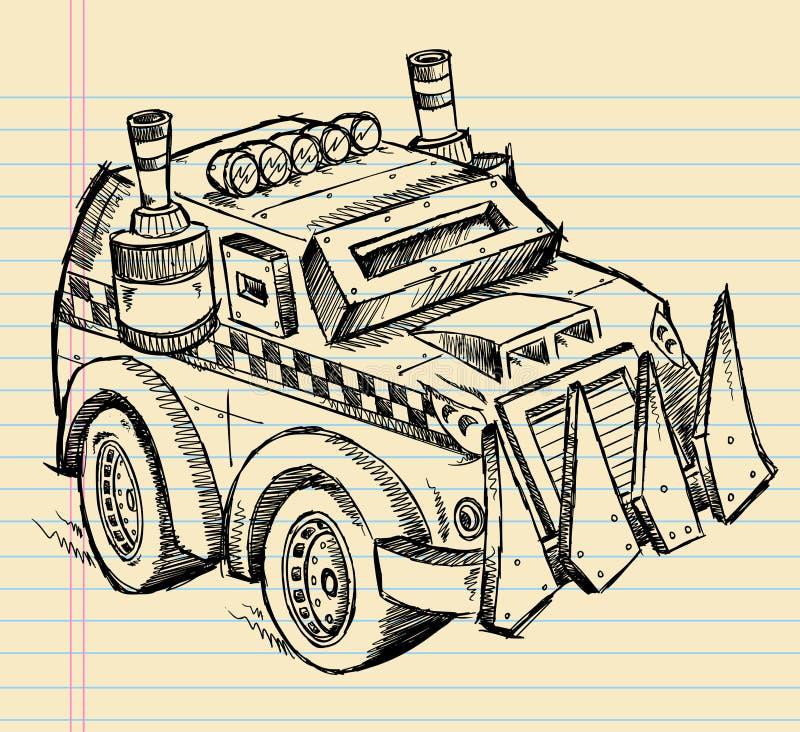 Bosquejo apocalíptico del camión del vehículo stock de ilustración