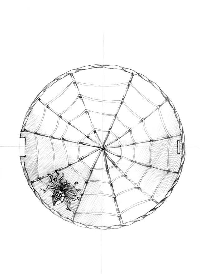Bosquejo arquitectónico Araña y telaraña lindas en el fondo blanco foto de archivo libre de regalías