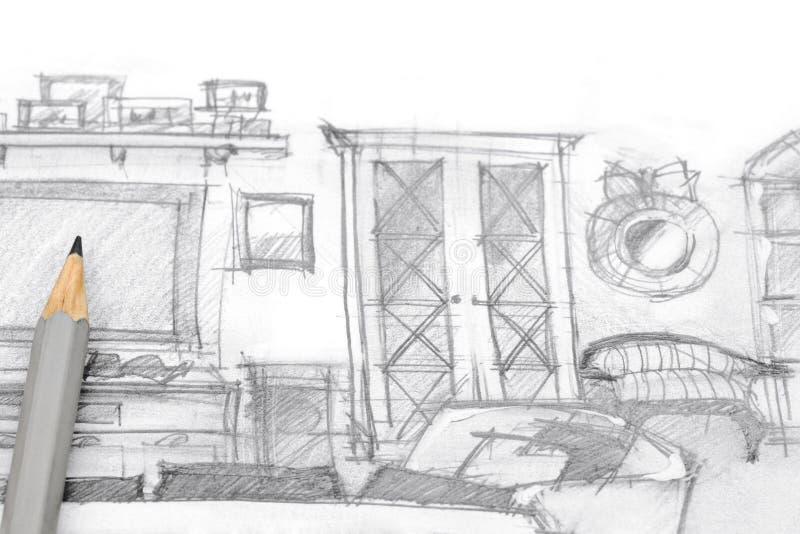 Bosquejo arquitectónico de la pared moderna del entretenimiento con el lápiz fotos de archivo