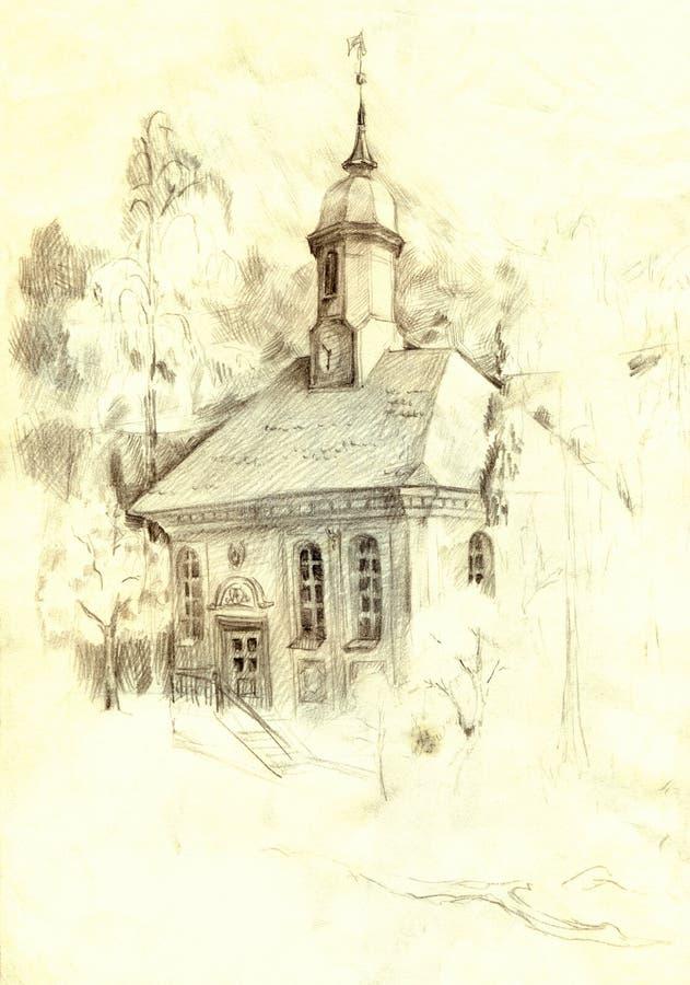 Bosquejo arquitectónico del lápiz La iglesia vieja en el parque stock de ilustración