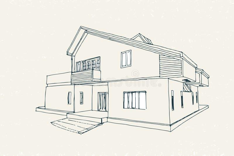 Bosquejo arquitectónico del vector ilustración del vector
