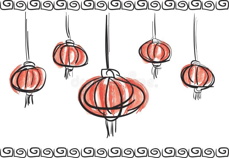 Bosquejo artístico chino del cepillo del lampion de la linterna del Año Nuevo stock de ilustración