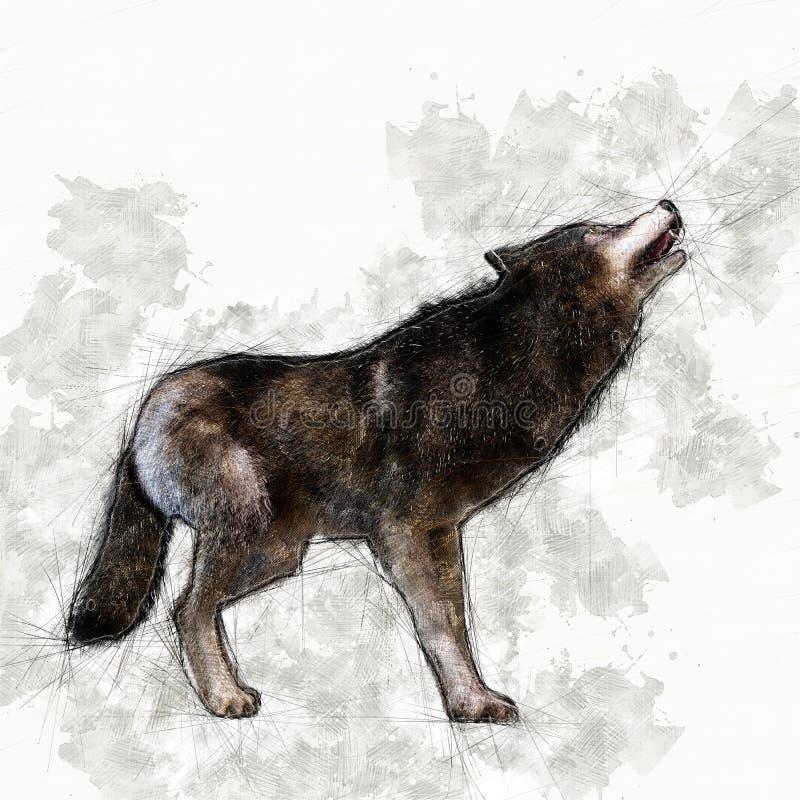 Bosquejo artístico de Digitaces de un lobo libre illustration