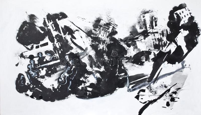 Bosquejo blanco y negro de la ciudad imagen de archivo libre de regalías