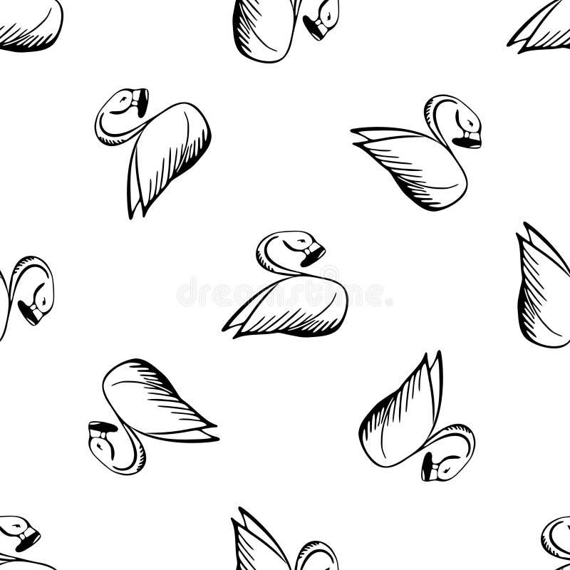 Bosquejo blanco y negro del flamenco stock de ilustración