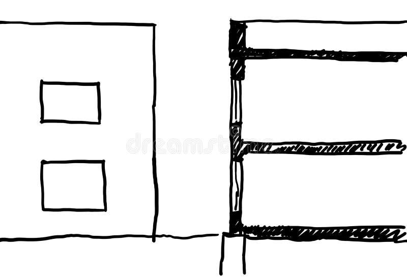 Bosquejo casero moderno ilustración del vector