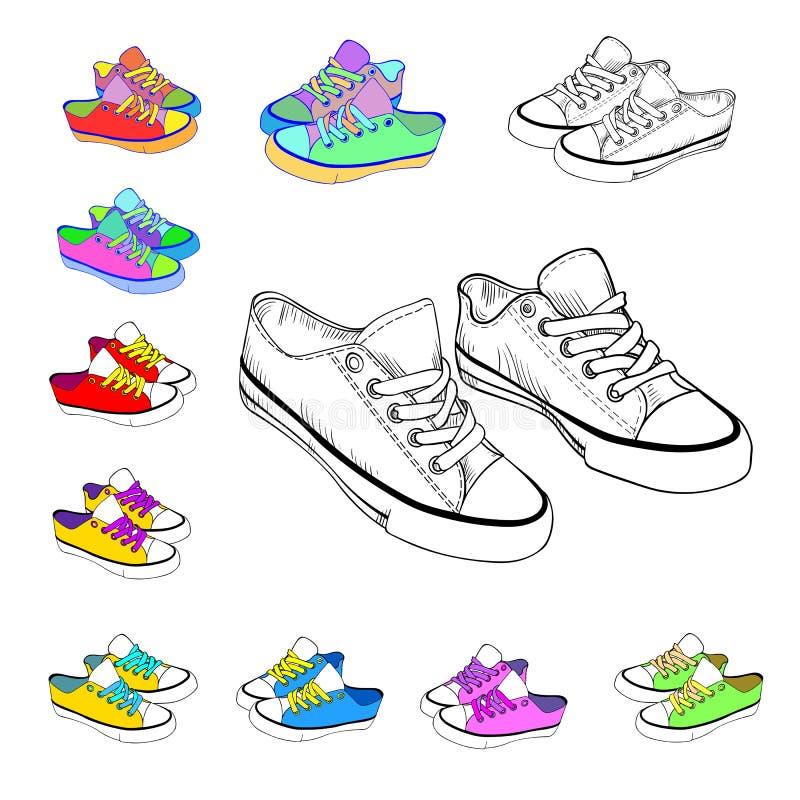 Bosquejo coloreado de las zapatillas de deporte imagenes de archivo