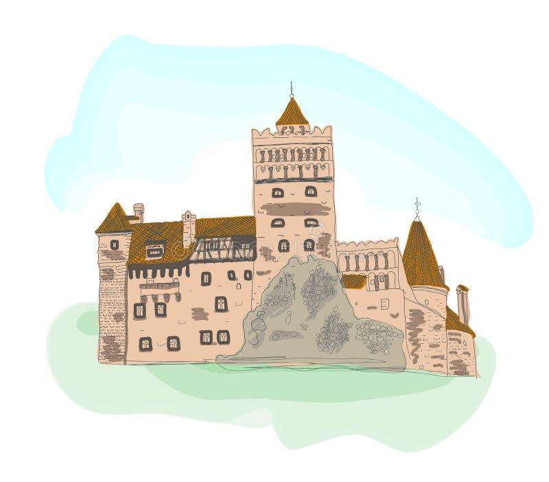 Bosquejo coloreado del castillo del salvado aislado en blanco ilustración del vector
