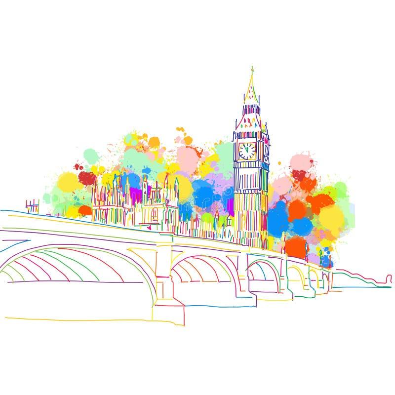 Bosquejo colorido de la señal de Londres ilustración del vector