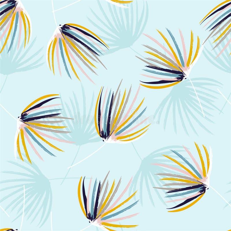 Bosquejo colorido del cepillo de la mano del humor en colores pastel fresco del modelo inconsútil de las hojas de palma en vector ilustración del vector