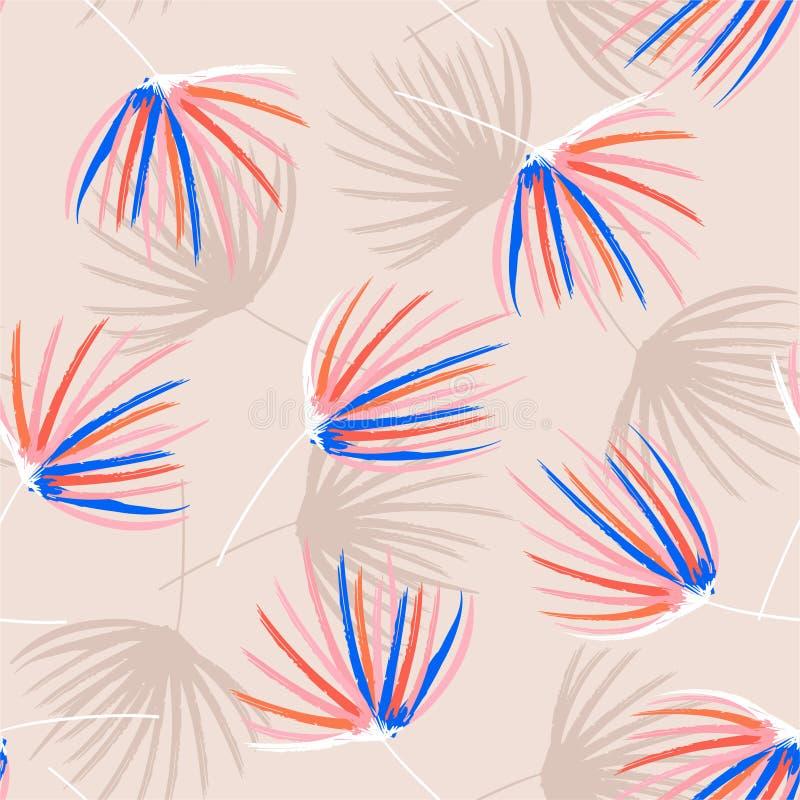 Bosquejo colorido del cepillo de la mano del humor en colores pastel retro del modelo inconsútil de las hojas de palma en vector  ilustración del vector