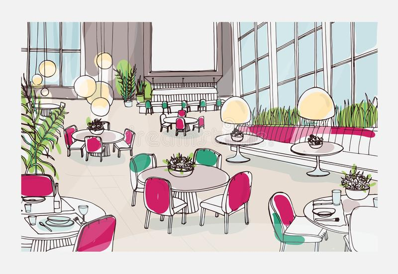 Bosquejo colorido del interior moderno del restaurante o del café equipado con las tablas elegantes, sillas, luces pendientes fre ilustración del vector
