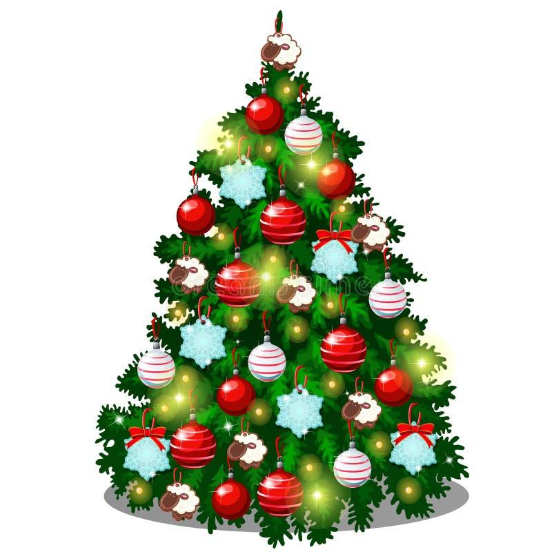 Bosquejo con el árbol de navidad lindo con los regalos del Año Nuevo, las decoraciones clásicas de la Navidad y las chucherías Mu ilustración del vector
