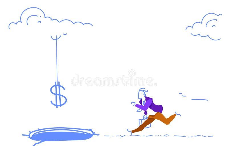 Bosquejo corriente descendente asustado del crecimiento de dinero del hombre del concepto de la crisis de las finanzas de deuda d stock de ilustración