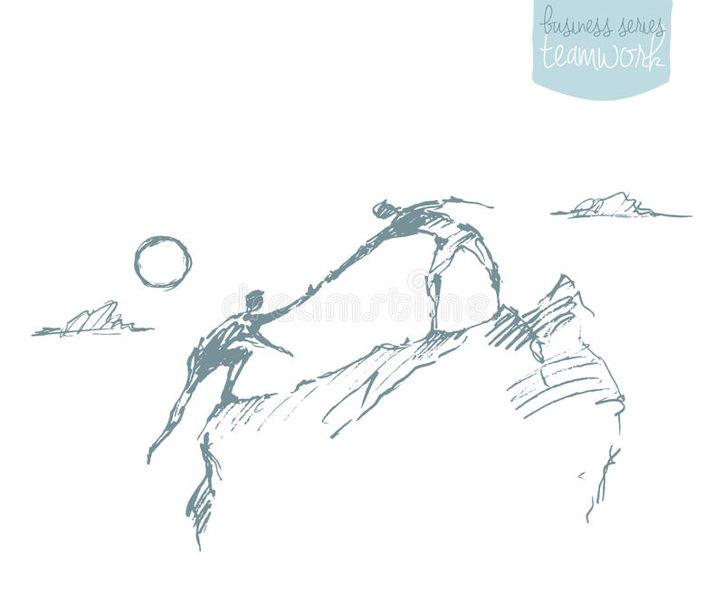 Bosquejo de ayuda de la sociedad del trabajo en equipo de la subida del hombre del drenaje libre illustration