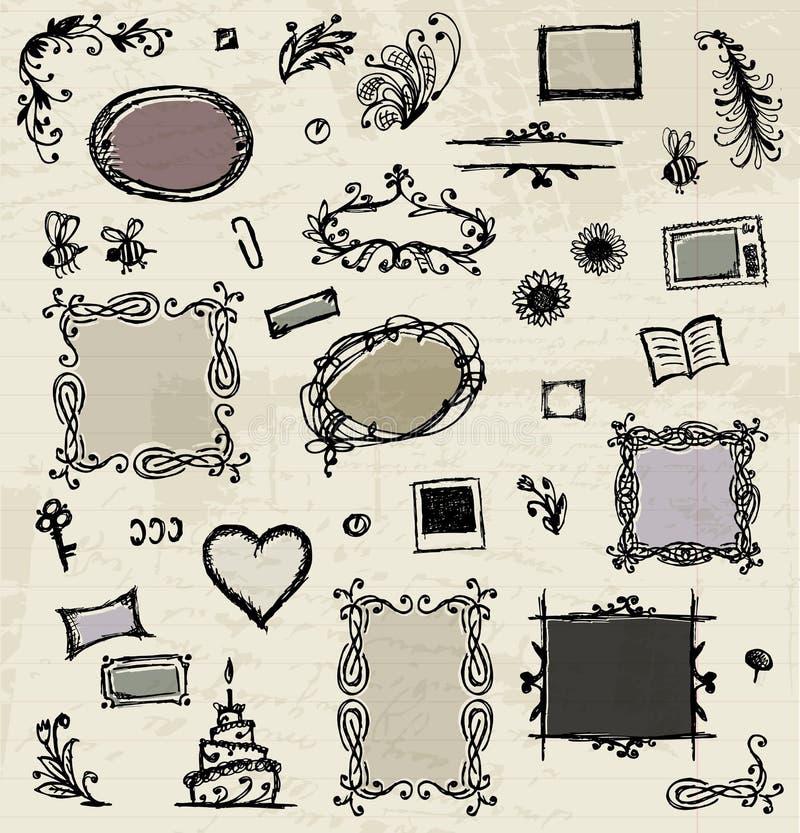 Bosquejo de bastidores, gráfico de la mano para su diseño libre illustration