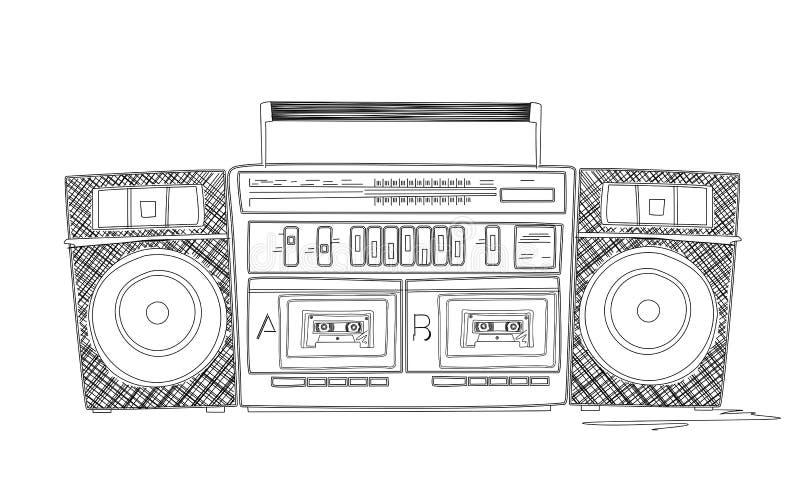 Bosquejo de Boombox stock de ilustración