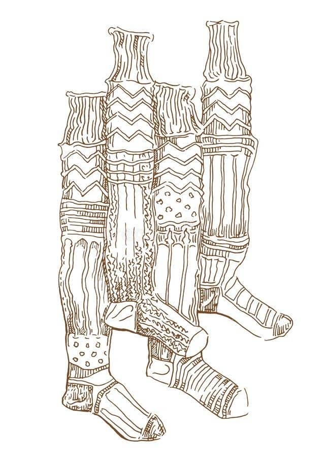 Bosquejo de calcetines calientes stock de ilustración