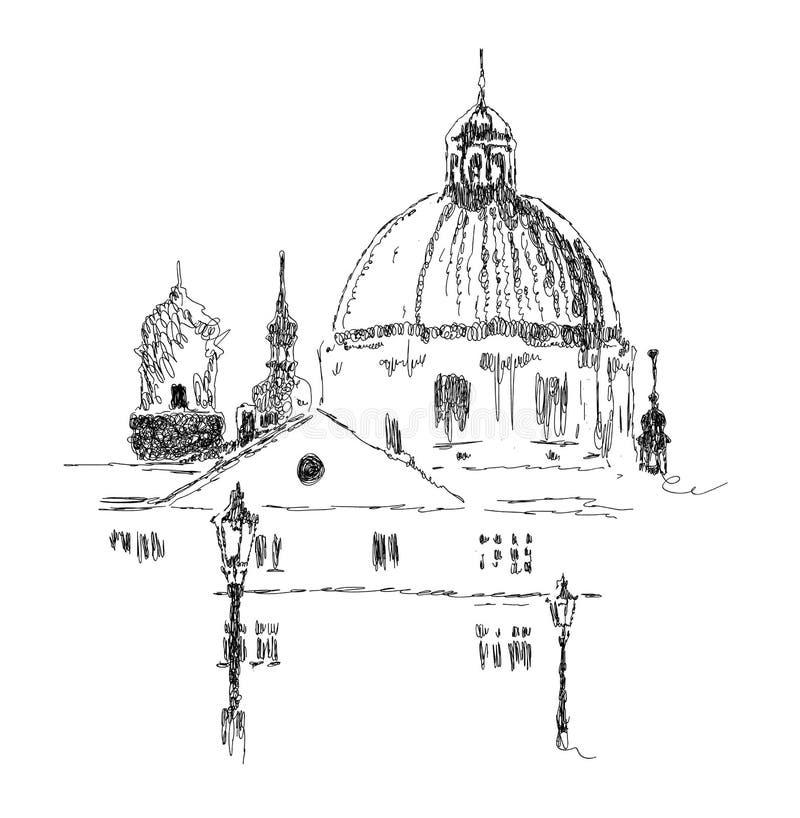 Bosquejo de edificios europeos, señal, ejemplo exhausto del vector de la mano en colores blancos y negros libre illustration