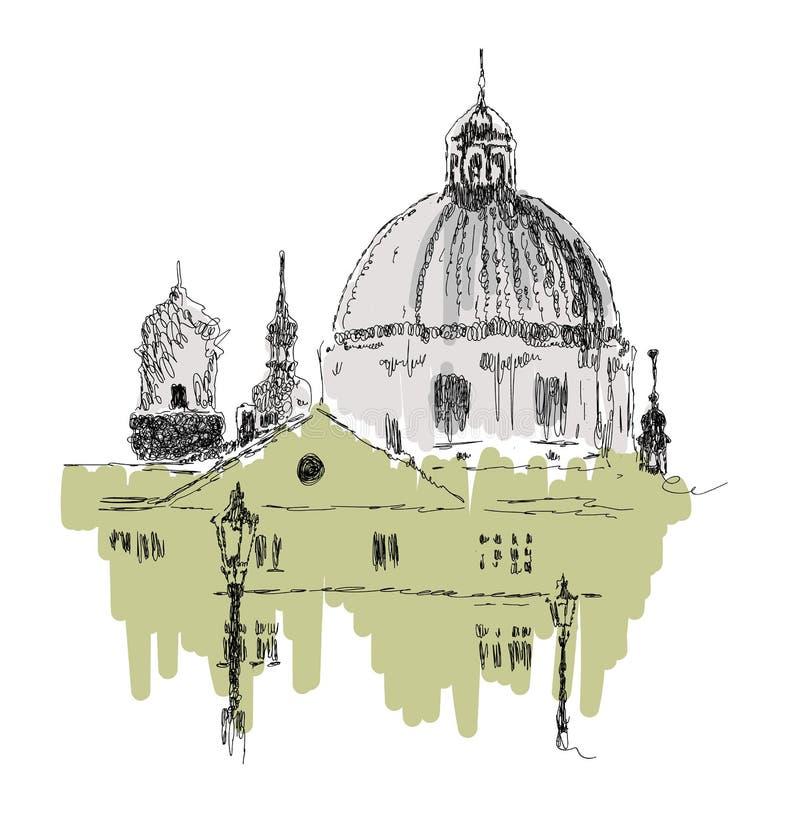 Bosquejo de edificios europeos, señal, ejemplo exhausto del vector de la mano en el fondo blanco stock de ilustración