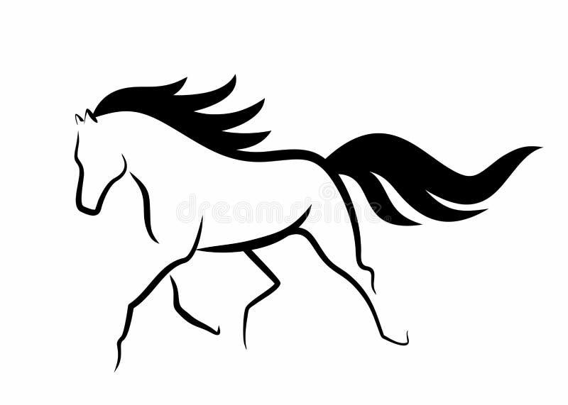 Bosquejo de funcionar con el caballo hermoso stock de ilustración
