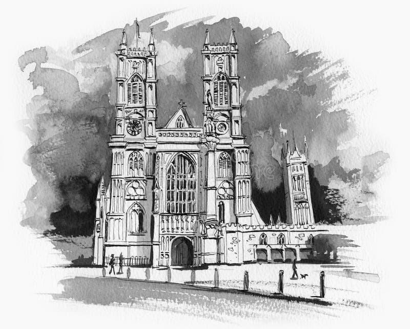 Bosquejo de la abadía de Westminster stock de ilustración