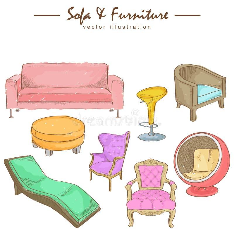 Bosquejo de la acuarela de los muebles ilustración del vector
