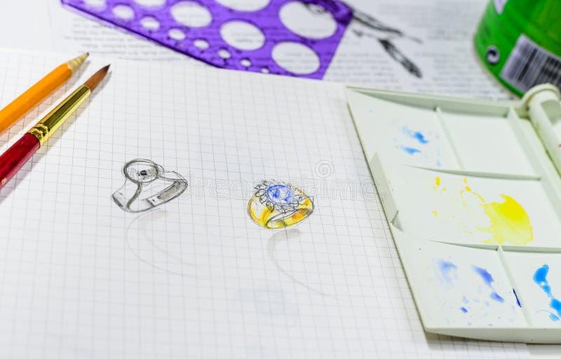 Bosquejo de la acuarela del diseño de la joyería en el Libro Blanco foto de archivo libre de regalías