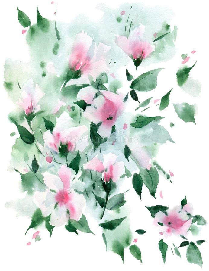 Bosquejo de la acuarela Fondo floral de la naturaleza libre illustration