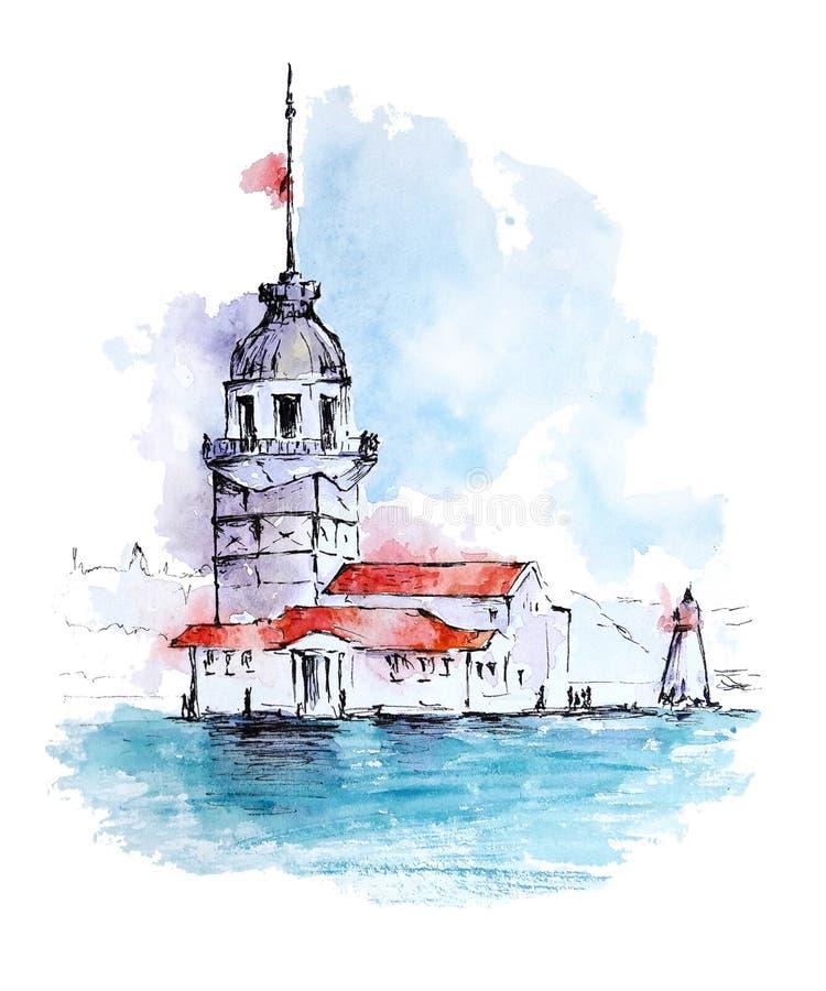 Bosquejo de la acuarela de la torre de la doncella, Estambul, Turquía stock de ilustración
