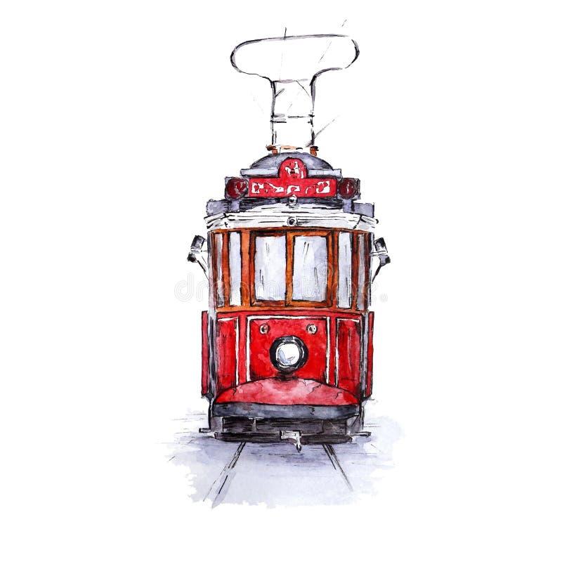 Bosquejo de la acuarela de la tranvía nostálgica de Estambul ilustración del vector