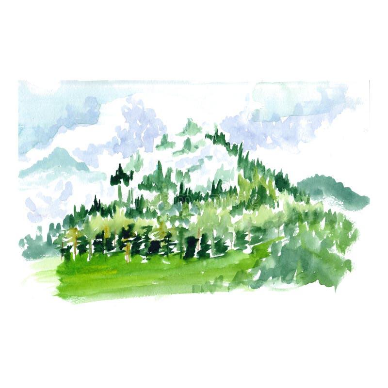 Bosquejo de la acuarela de una montaña con los árboles libre illustration