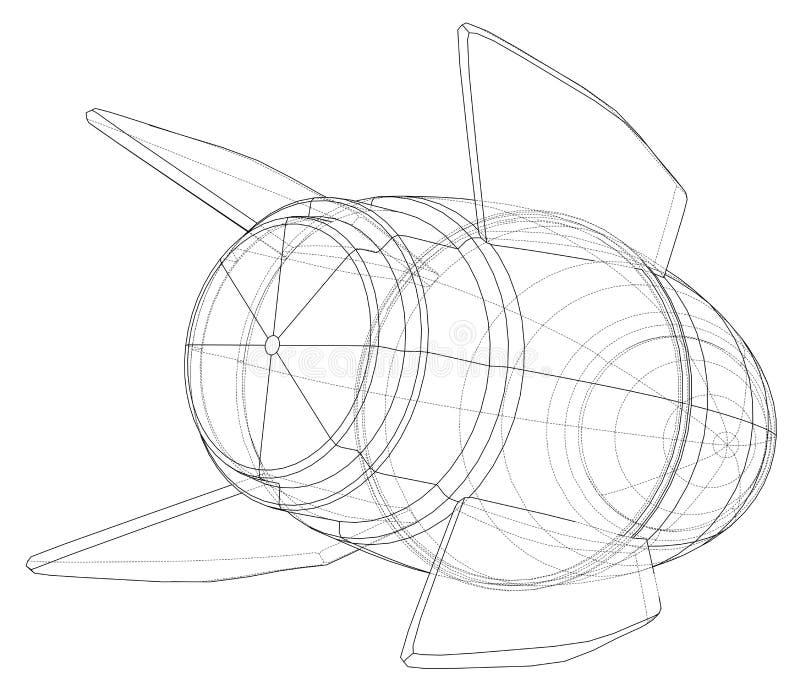 Bosquejo de la bomba Vector ilustración del vector