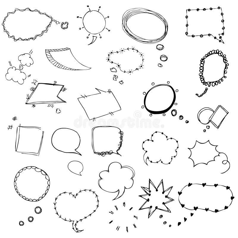 Bosquejo de la burbuja del discurso del ejemplo del vector del dibujo de la carta blanca libre illustration