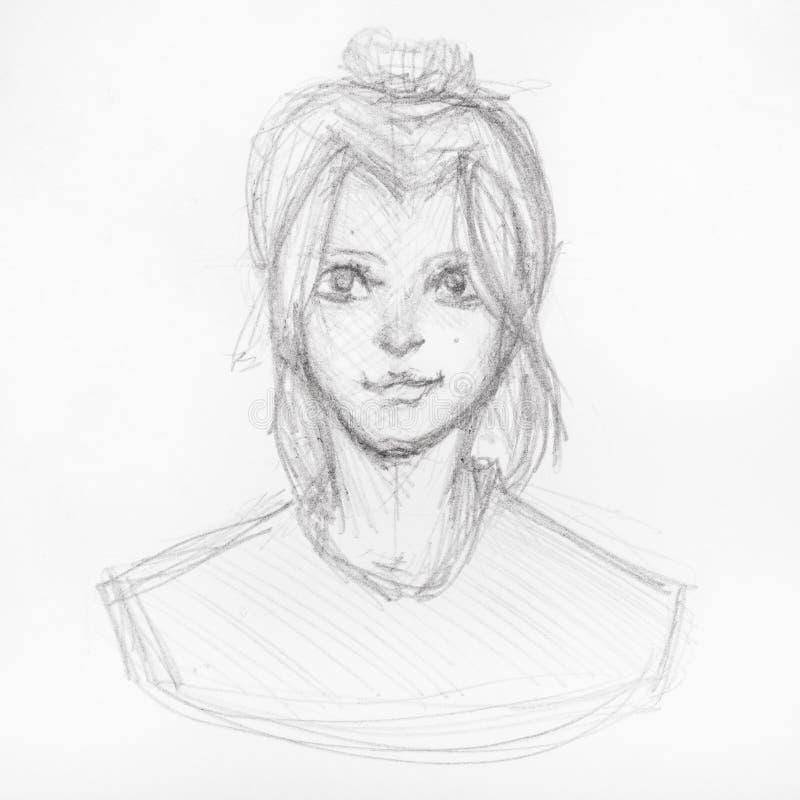 Bosquejo de la cabeza de la muchacha feliz con el peinado del bollo stock de ilustración