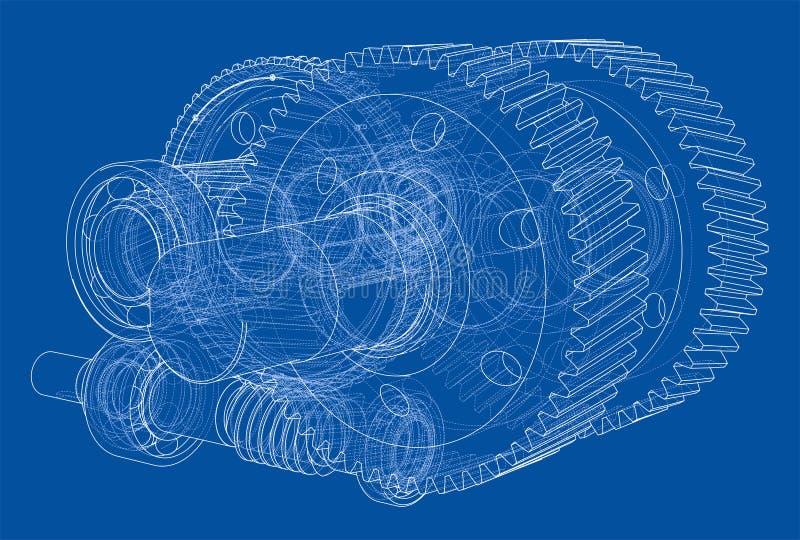 Bosquejo de la caja de cambios Vector ilustración del vector