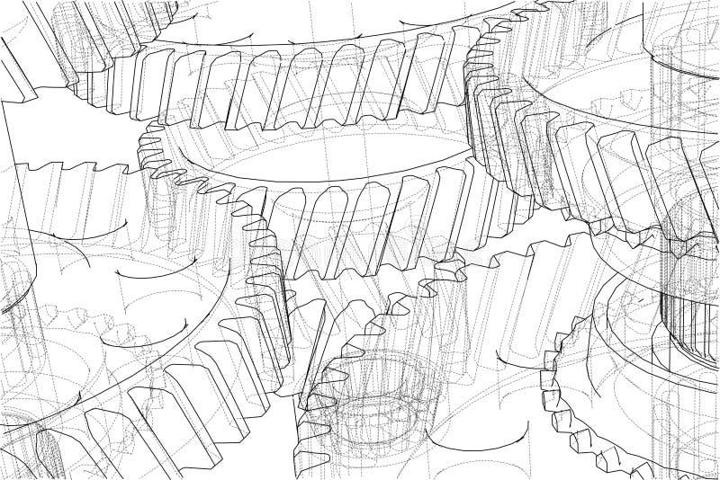 Bosquejo de la caja de cambios Vector libre illustration