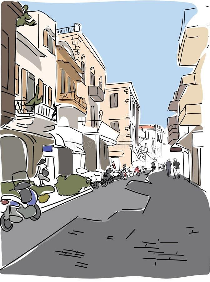 Bosquejo de la calle de Grecia del europeo que viaja libre illustration
