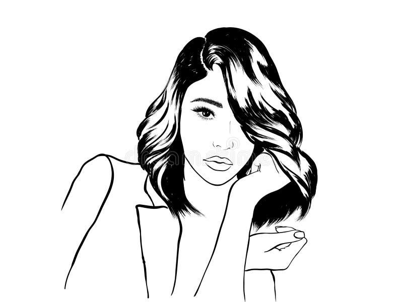 Bosquejo de la cara de la mujer del ejemplo de la moda ilustración del vector