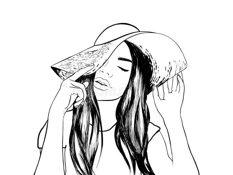 Bosquejo de la cara de la mujer del ejemplo de la moda stock de ilustración
