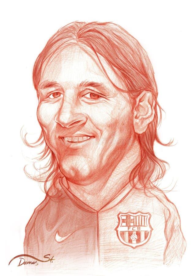 Bosquejo de la caricatura de Lionel Messi stock de ilustración