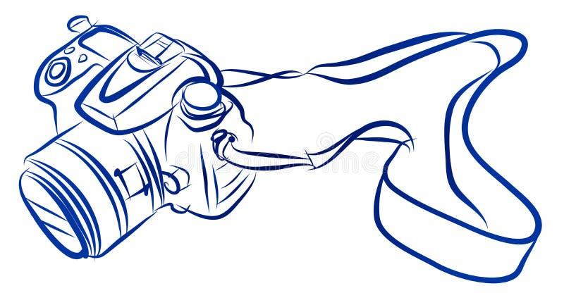 Bosquejo de la carta blanca del vector de la cámara de DSLR stock de ilustración