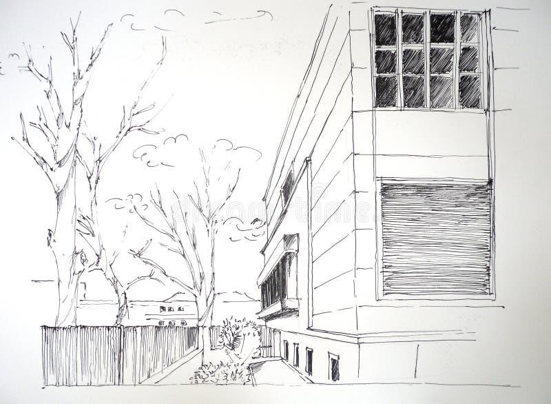 Bosquejo de la casa libre illustration