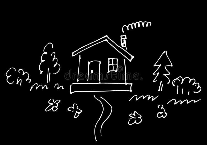 Bosquejo de la casa del campo rodeado por los ?rboles y las flores aislados en fondo negro Ilustraci?n drenada mano stock de ilustración
